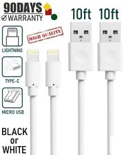 2-pack 10FT PVC Sync-Charging USB Cable for iPad,iPhone 8,X,XR,XS,11, & Android