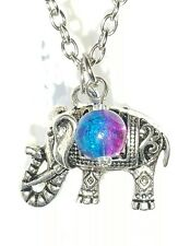 🐘 ELEPHANT NECKLACE w  GLASS BEAD CHARM 🐘 BOHO BIRTHDAY GIFT 🐘 TEEN GIFT 🐘