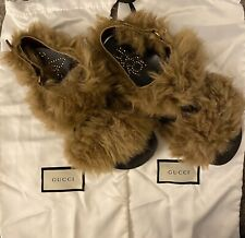 Rare!! Gucci Men's Leather & Fur Sandals - Size 7 - Brown ($980)
