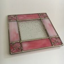 Beautiful Glass Leadlight Tea Pot Stand Trivet Pink Perfect Condition Square