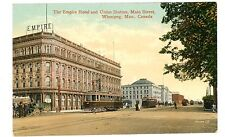 Winnipeg Manitoba MB -TROLLEY AT EMPIRE HOTEL & UNION STATION- Postcard Canada