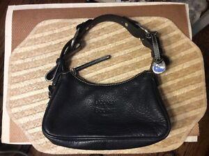 Dooney & Bourke Black Pebble Leather Buckle Shoulder Hobo Bag