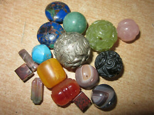 Collection of vintage / antique large Chinese carved stone & silver beads
