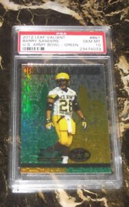 2012 LEAF VALIANT U.S.ARMY BOWL-GREEN-RC CARD FROM BARRY SANDERS #BS1 PSA MT 10