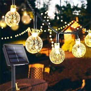 10/20/50 LEDS Crystal Ball Solar Lamp Power String Lights Garden Garland Outdoor