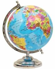 Political Educational 8 Inch Cartography Rotating Globe Nickel Plated Metal Base