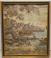Italian tapestry port city with boats vintage wall hanging