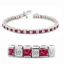 4.53 Cts Princess Cut Diamonds Ruby Tennis Bracelet In Certified 14K White Gold