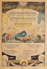 """ CHANSON DE NOEL BOEUF & ANE GRIS "" ILLUSTRATION DE KERMOR 1935"