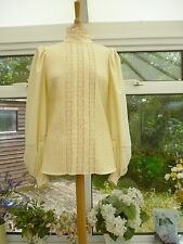STUNNING ANNIE GOUGH GEMINI VINTAGE CREAM EDWARDIAN STYLE LACE & PLEAT BLOUSE 12