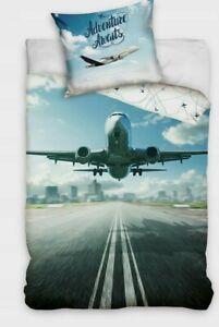 Reversible Airplane Bedding Set Duvet Quilt Cover Pillow Case100% Cotton Single