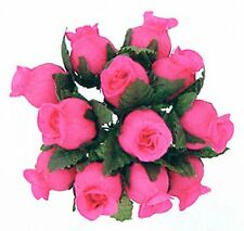 144  Miniature Poly Rose Silk Favor Flower Pick Wedding Shower - Hot Pink