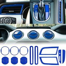 15pcs/set Blue Interior Decoration Cover Trim Kit For Ford Mustang 2015 16 17 18