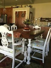 Vintage Dining Set recently refinished with chalk paint and lightly distressed.