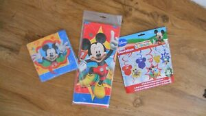 3 Mickey Mouse Disney Party Decorations ~12 Swirl~Table Cover~16 Paper Napkins