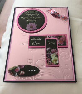 Handmade Quality Birthday Card Pretty Pink Flowers Bow Female Lots Of Love Large