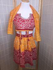Ethnic Anarkali Salwar Kameez Skirt Set Muslim Size 16 3pc Red Orange Beaded