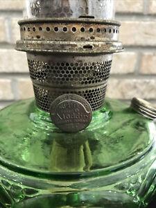 Aladdin Green Washington Drape Smooth Stem Oil Lamp Nu-Type B Burner Hurricane