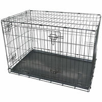 """36"""" LARGE DOG CAGE CRATE PET PUPPY FOLDING METAL CAGE CARRIER HANDLE TRANSPORT"""