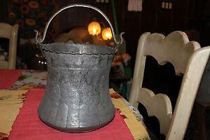 Antique Middle Eastern Asian Copper Hanging Cauldron Pot Engraved Religious Men