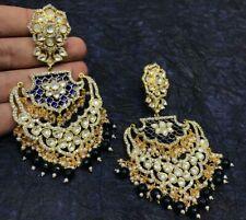 Indian Gold Plated Big Long Real Kundan Chandbali Earrings Wedding Bollywood Set