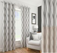 One Pair Of DECO Metallic Retro Wave Ready Made Eyelet Header Lined Curtains