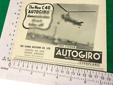 Cierva C40 Autogiro vintage advert from 1939