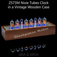 Z573M Nixie Tubes Clock in Wooden Case Divergence Meter mini [RGB, USB, Musical]