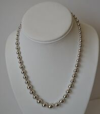 """Neat Sterling Silver Graduated Bead Necklace 925 17"""" Long. Designer Signed"""