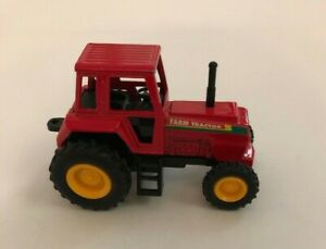 """TOYSMITH JUMBO TREADIN' TRACTOR RED - Pull Back and Let Go 4"""" Die Cast"""