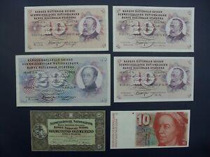 6No. 1952-1986 SWITZERLAND 5/10/20 FRANKEN BANKNOTES aVF-UNC