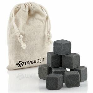 Mahlzeit Whisky Steine Set (8 Stück) | Whiskey Steine aus Basalt | Kühlwürfel