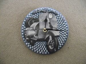 """VESPA SCOOTER 7"""" wall clock upcycled"""