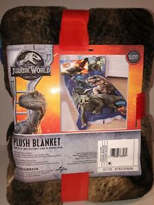 "Jurassic World Dinosaur T-Rex Super Soft plush throw blanket 40"" x 60"" NEW"