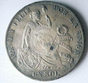 1888 PERU SOL - AU - COUNTERSTAMPED Rare Early Date Silver Crown Coin - Lot #L26