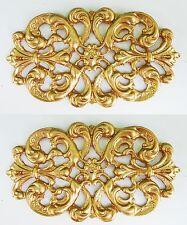 Faux ormolu.Ornament (#130) Set of 2. Furniture decoration.Antique reproduction