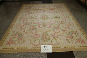 8'X10'Stunning Classic French Swirls Beautiful Rose Beige Wool Aubusson Rug