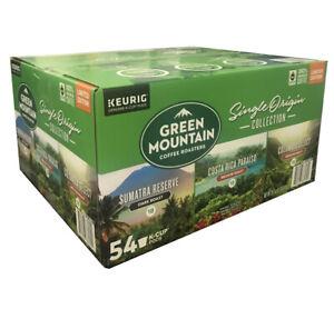 Green Mountain Coffee Collection Sumatra Reserve Costa Rica Columbia Select 54Ct