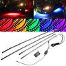 4pcs RGB LED Strip Under Car Tube Underglow Underbody System Neon Light Kit 12V~