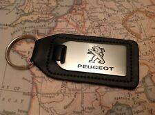 PEUGEOT BLACK LEATHER KEY RING FOB ETCHED AND INFILLED  308 208 5082008 5008 108