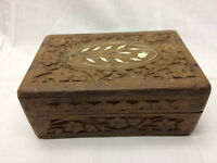 "Vintage Hand Carved Trinket Jewelry Box Flower Design 5 7/8"" X 4"" Hinged Lid"