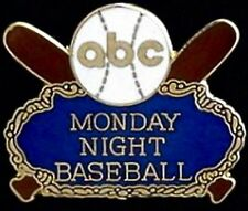 ABC LTD. 500 ~ abc Media Pin Badge ~ Monday Night Baseball ~ cross bats