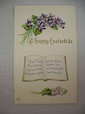 VINTAGE EMBOSSED EASTER POSTCARD FLOWERS AND VERSE 1914