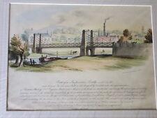 Twerton Suspension Bridge in Bath - Lithographic Print by Paul Jerrard c 1850