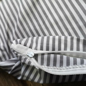 Kopfkissenbezug Kissenbezug Kissenhülle 80 x 80 cm Grau Gestreift 100% Baumwolle
