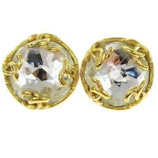 Authentic CHANEL CC Bijou Clear Stone Vintage Earrings Gold-Tone 95A AK36055