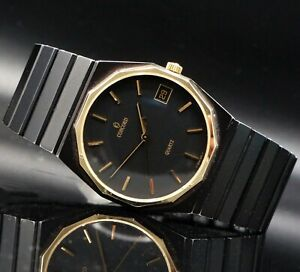 Concord Mariner SG Black PVD, 14K Gold Bezel Quartz Man's Bracelet Watch No Res!