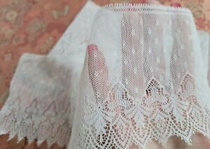 Net Tulle French Antique Lace Trim picoted edging  yards  WIDE cotton