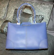 Ann Taylor Cornflower Blue Leather Tote Bag  -- NWT