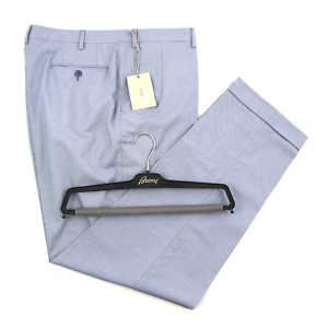 NWT BRIONI Tigullio Italy Sky Blue Birdseye Wool Slim Fit Dress Pants 46 (EU 62)